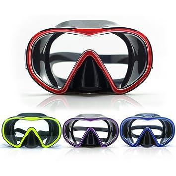Adultos Snorkel máscara de buceo apnea amplia vista para natación Scuba Dive, hombre, azul