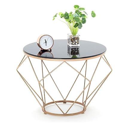 Dxjni Golden Wrought Iron Coffee Table Black Transparent