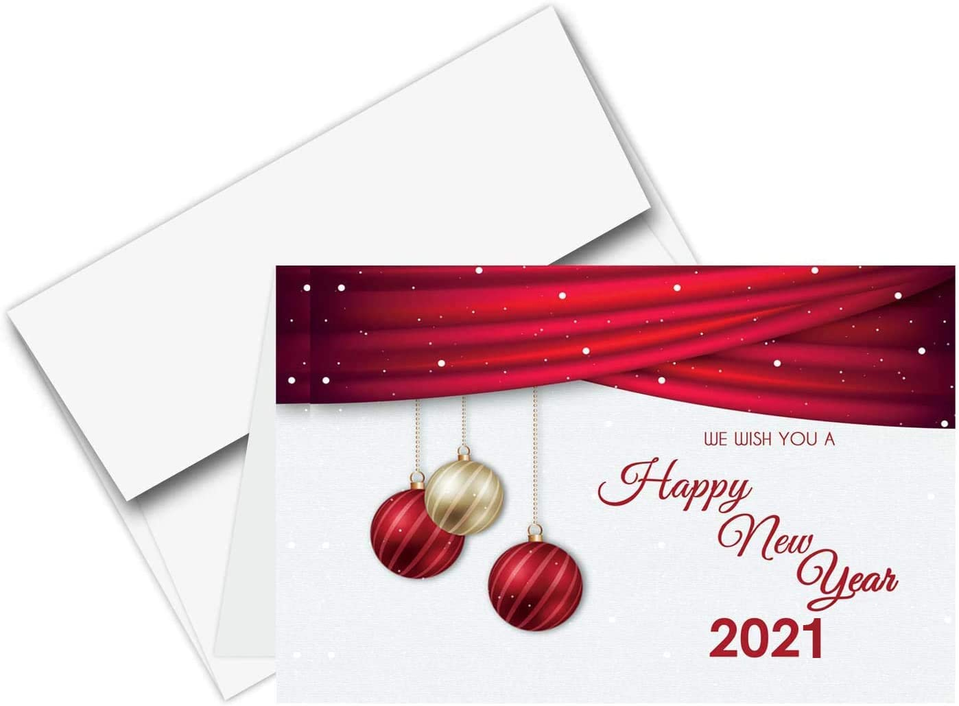 Unique Photo Christmas Cards 2021 Amazon Com 2021 Happy New Year Cards Envelopes Christmas Holiday Xmas New Yrs Red Thank You Greeting Card Set 25 Half Fold Cards A6 Envelopes 4 5 X 6 Inches Office Products