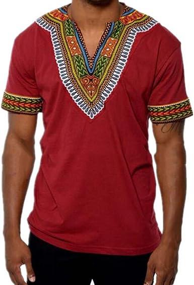 Yying Summer Camisetas Hombres Hip Hop Africano con Cuello en V Cuello Largo Alargado Camiseta de algodón Vino Rojo M: Amazon.es: Ropa y accesorios