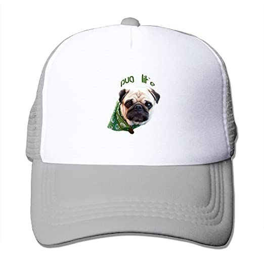 02c77ff295f Unisex-Adult Cartoon Pug Life Adjustable Trucker Caps Ash at Amazon ...