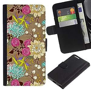 A-type (Flowers Art Drawing Roses) Colorida Impresión Funda Cuero Monedero Caja Bolsa Cubierta Caja Piel Card Slots Para Apple (5.5 inches!!!) iPhone 6+ Plus / 6S+ Plus