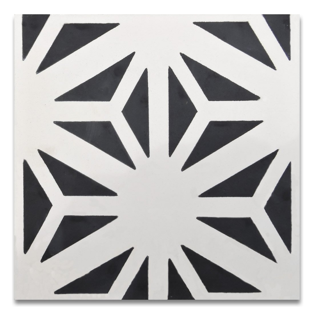 Moroccan Mosaic & Tile House CTP67-01 Azemour 8''x8'' Handmade Cement Tile (Pack of 12), BlackWhite by Moroccan Mosaic & Tile House