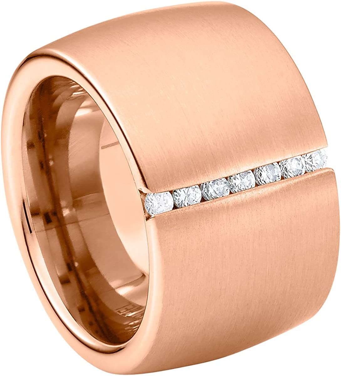 Heideman Ring Ladies Stainless Steel Lines Plata Pulida, Oro o Oro Rosa Colores Mate Ladies Ring para Mujeres con Swarovski Stone Zirconia Blanco Talla Brillante 1,5mm