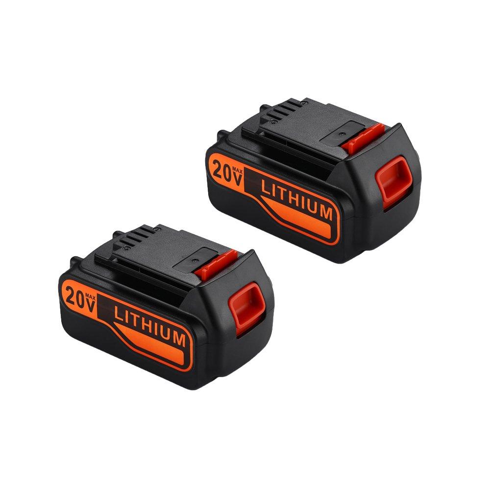 MASIONE 20-volt Battery Pack for Black&Decker Power Tools LBXR20 LB20 LBX20 LBXR2020-OPE LBXR20B-2 LBX4020 (2 Pack-4000mah)