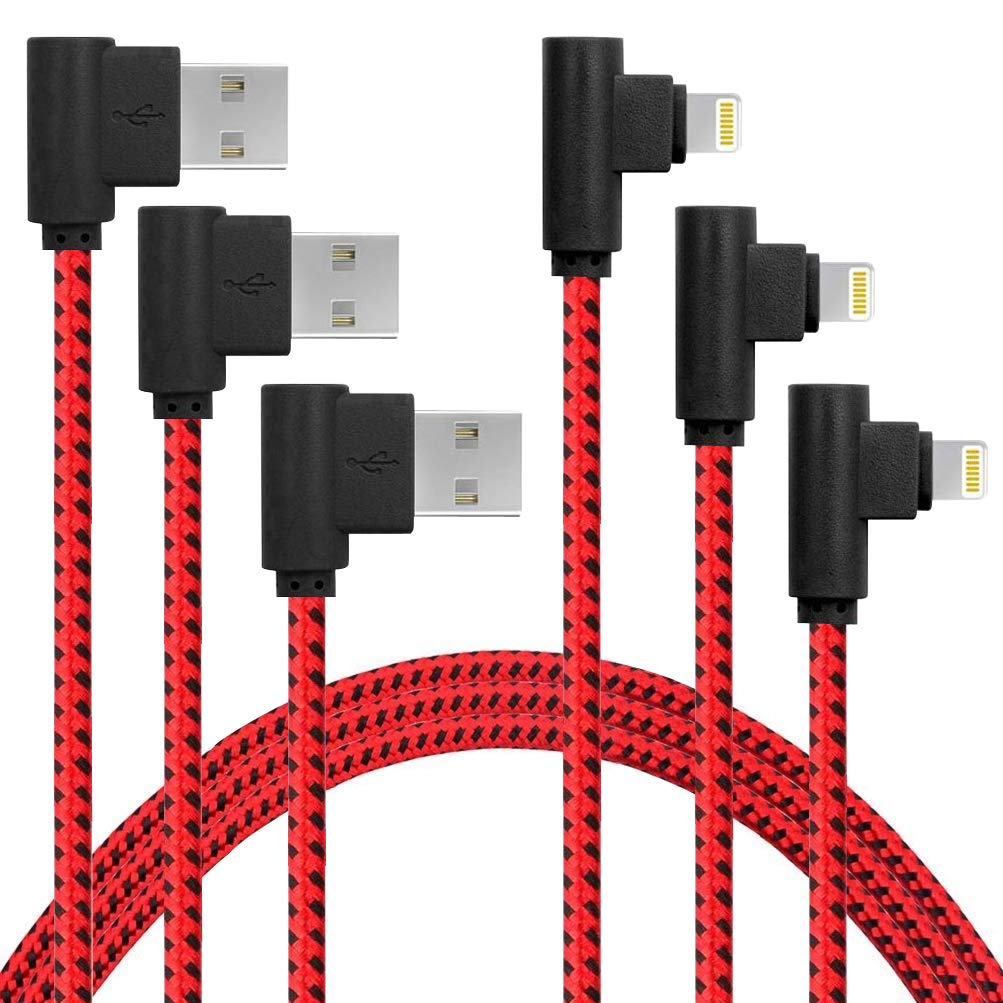 APFEN 90 Degree [3-Pack] 10FT/3M Heavy Duty iPhone Gaming Charger Cable Compatible with iPhone Xs Max/XS/XR/7/7Plus/X/8/8Plus/6S/6S Plus/SE (Black Red, 10FT)