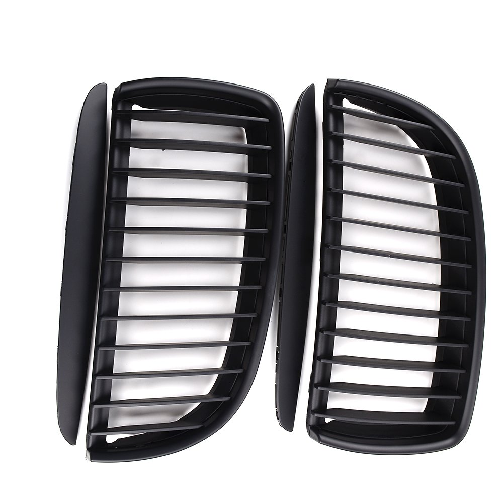 Double Line, Glossy Black Astra Depot Pair Euro Front Hood Kidney Grille Compatible with E90 323i 325xi 330i 328i 328xi 335i 335xi Pre-Facelift