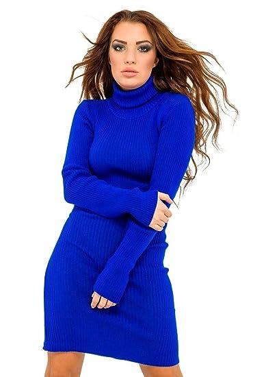 74ab76226b7 Femme Robe moulante en maille côtelée. Robe pull à col roulé 417 (Bleu  Royal