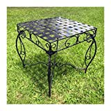 Iron Side Table - Lattice (Black Pewter) (22''H x 20''W x 20''D)
