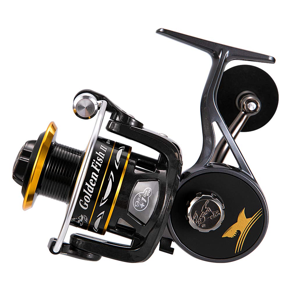 linewinder Fishing Reel, Spinning Reel with Magnesium Alloy Supporter, 9 1BB, Golden Black Unique Design, Ultralight Weight, Super Smooth for Saltwater and Freshwater GFII5000 4000 3000 2000