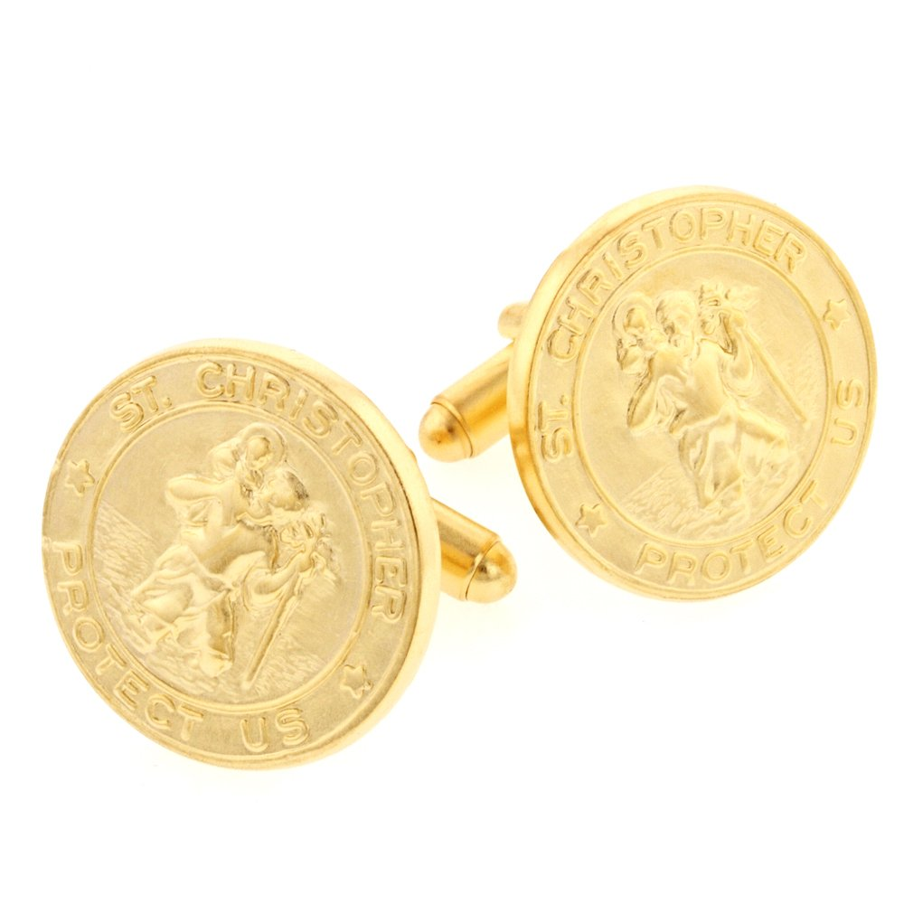 JJ Weston Brushed Finish St.Christopher Cufflinks. Made in the USA.