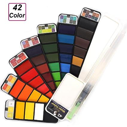 amazon com portable watercolor paint set for artist set of 42