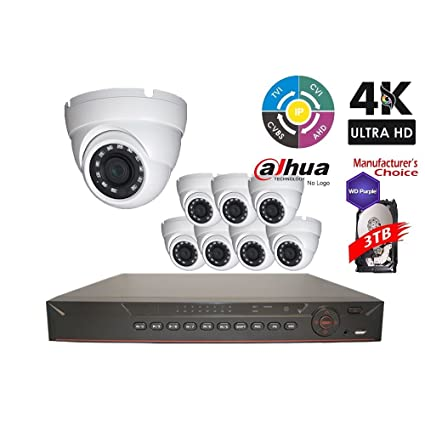 Dahua Penta-brid 1080P Security Package: 16CH 1080P Penta-brid XVR5116 5 in  1 (CVI TVI AHD IP and Analog) w/3TB Security Hard Drive+(8) 2MP Outdoor IR