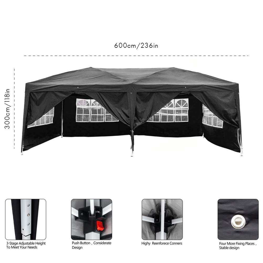 Blacgic Folding Tent Protable Instant Wedding Party Gazebo Pavilion with 6 Removable Sidewalls by Blacgic (Image #2)