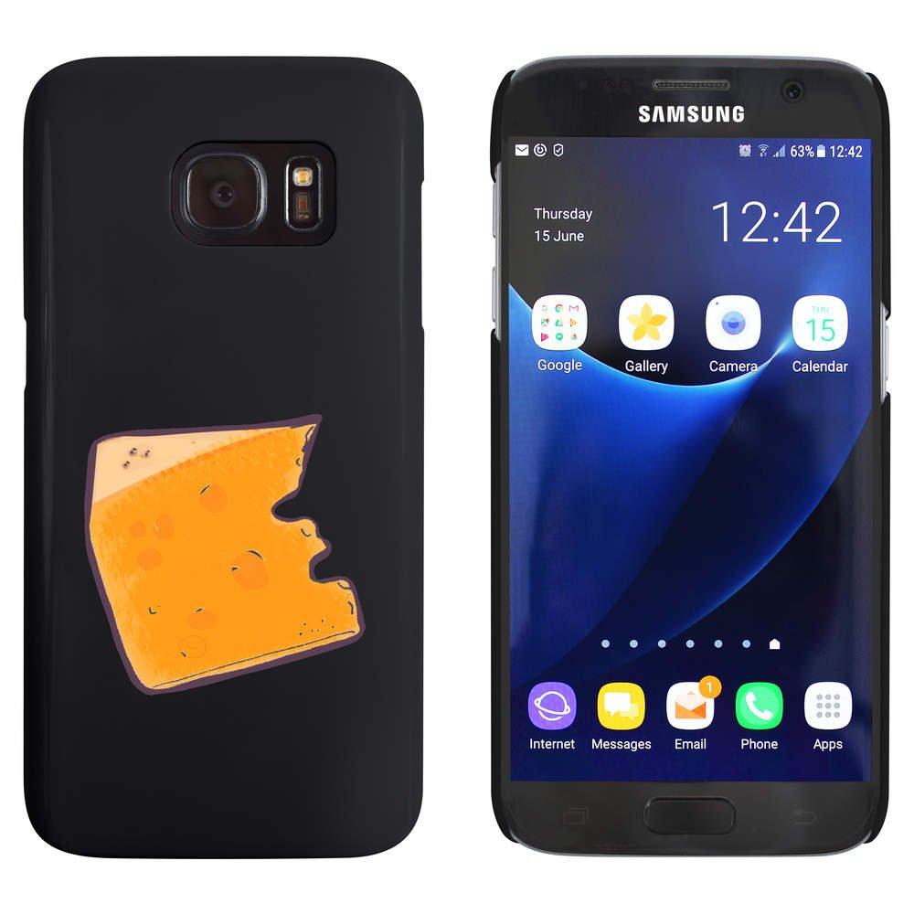 Azeeda Negro 'Rebanada de Queso' Funda / Carcasa para Samsung Galaxy S7 (MC00096108)