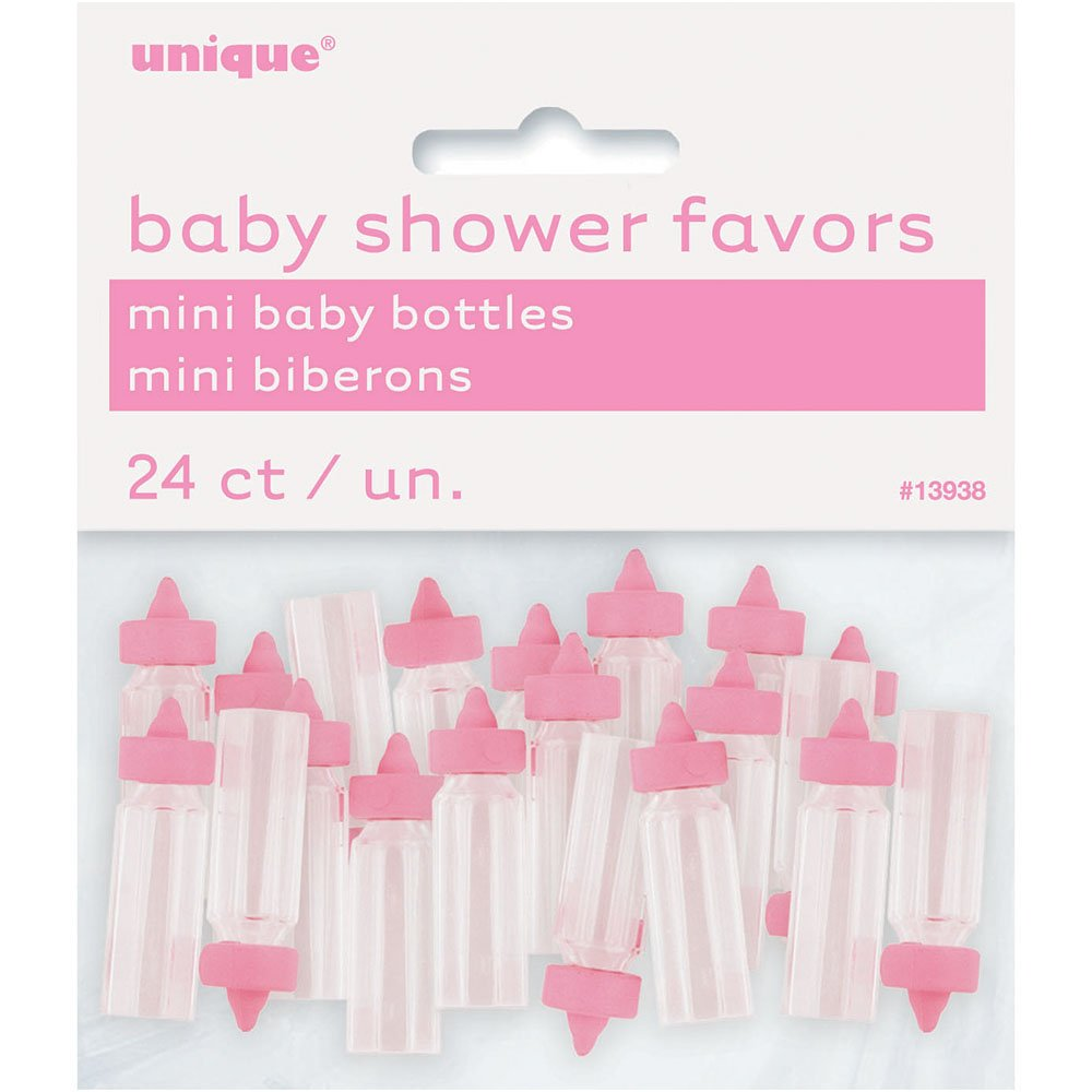 Mini Plastic Pink Bottle Baby Shower Favor Charms 24ct