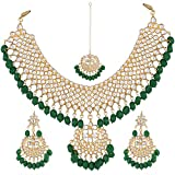 Shining Diva Jewelry Gold Plated Kundan Wedding Party Wear Necklace for Women Traditional Jewellery Set with Earrings for Women & Girls