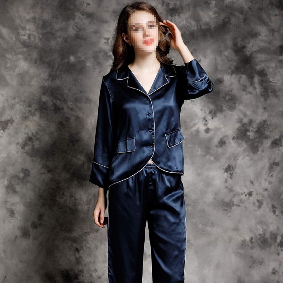 2 YUKILO Pajamas Women's Long Sleeve Sleepwear Soft Silk Pj Set LXXL (color   05, Size   XXL)