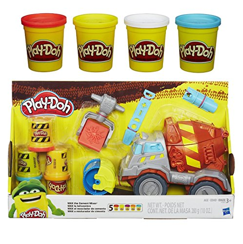 Play-Doh Max the Cement Mixer Toy Truck and Extra Play-Doh 4-Pack of Colors 20oz Bundle of 2 Items