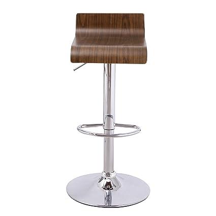 Super Joveco 1 Piece Swivel Contemporary Modern Adjustable Bar Stool Brown Walnut Wood Low Back Chrome Base Barstool Machost Co Dining Chair Design Ideas Machostcouk