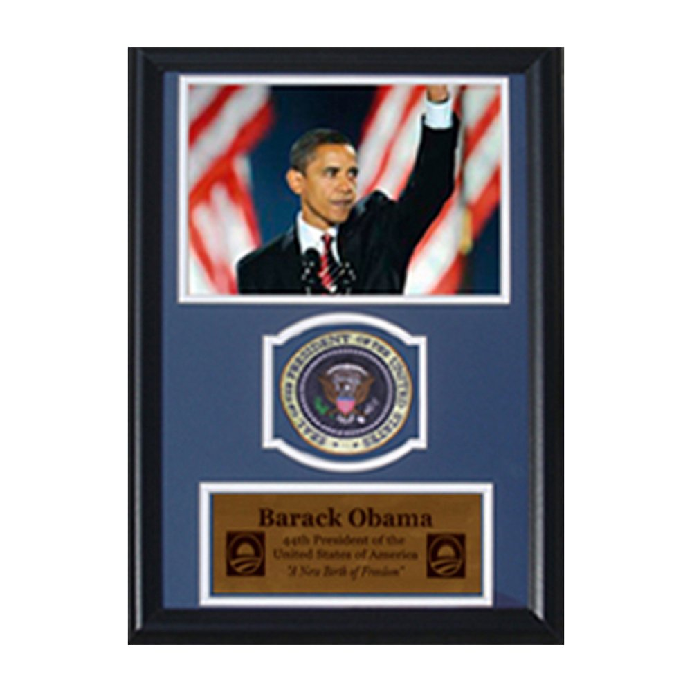 Barack Obama Waving with Flags with Presidential Commemorative Patch in a 12' x 18' Deluxe Photograph Frame