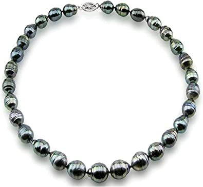2017 HOT SELL DOUBLE STRANDS 8-9mm REAL SOUTH SEA WHITE BLACK PEARL NECKLACE 14K