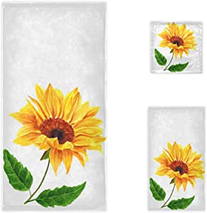 CaTaKu Towels Set 3-Piece, Tropical Sunflower Towel Bathroom Sets, 1 Bath Towel, 1 Washcloth, 1Hand Towel, Chic Van Gogh Sunflower Towel Set of 3 Soft Multifuntion for Home Kitchen Hotel Gym Swim Spa.