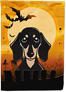 Caroline's Treasures BB1773GF Halloween Smooth Black and Tan Dachshund Flag Garden Size, Small, Multicolor