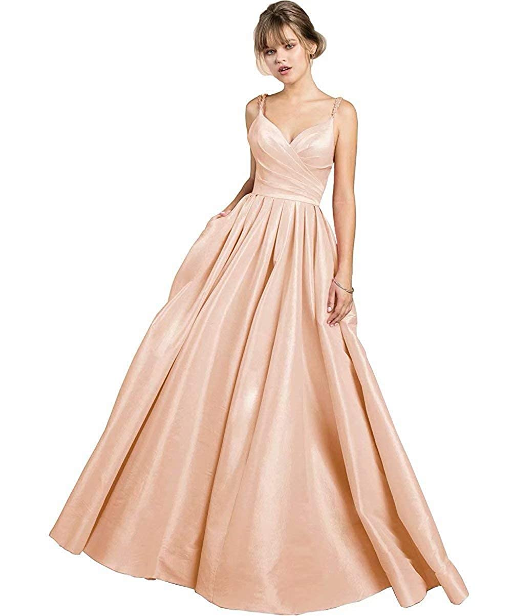 pink gold JYDX Women's Beaded Spaghetti Straps V Neck Satin A Line Evening Prom Dress Long Formal Gown with Pockets