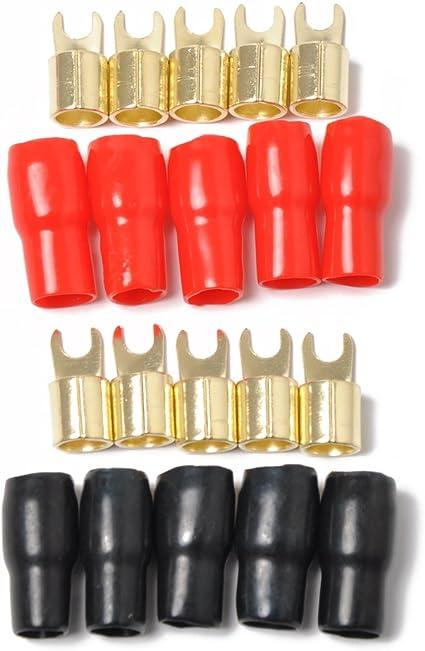 Terminales de horquilla de calibre 8 5 Par Rojo Negro 10 terminales