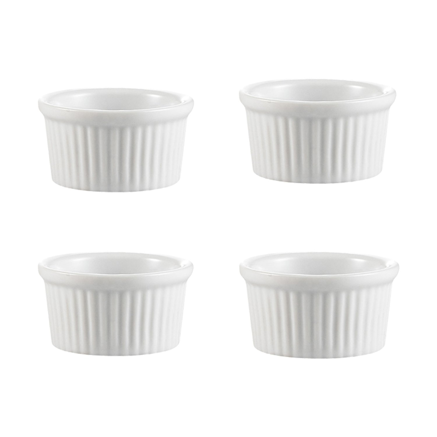 Professional Porcelain Ramekins Bakeware, 4 OZ Souffle Cups Dishes Fine White (Set of 4) Easy to Clean Oven Safe Culinary Depot CUL-SCD34
