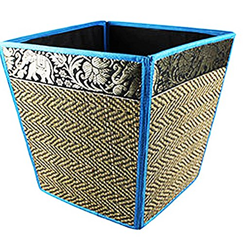 chantubtimplaza Waste Basket Thai Elephant Silk Reed Paper Bin Home Decor Blue Color by chantubtimplaza
