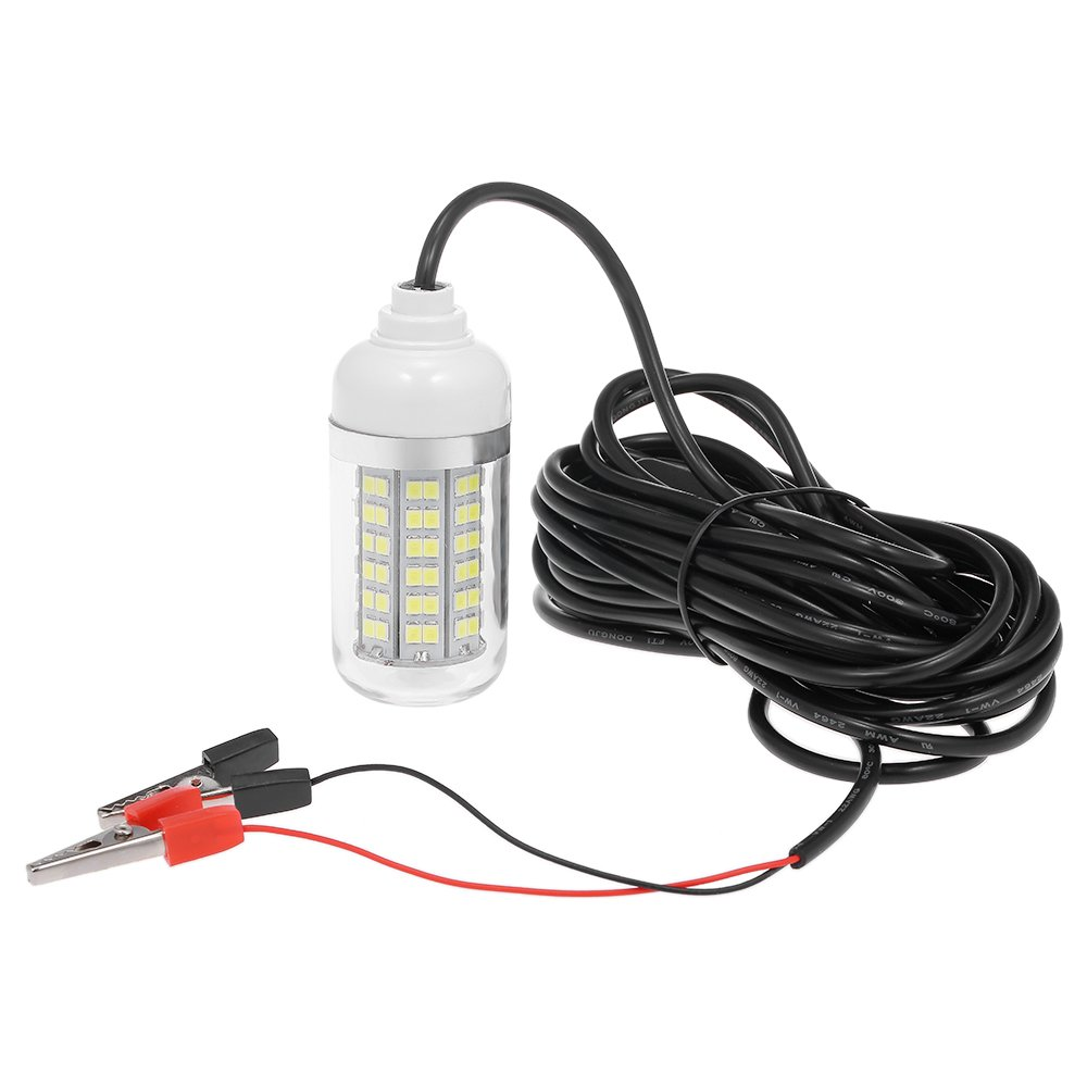 Lixada 12V 15W Underwater Fishing Attract Light LED Lamp Fish Finding System Light with 30ft Power Cord and Battery Clip