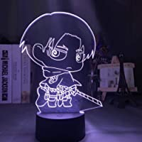 3D Night Light Anime Levi Ackerman Chibi Figure Nightlight for Home Decoration Light Colorful Battery Night Lamp Gift…