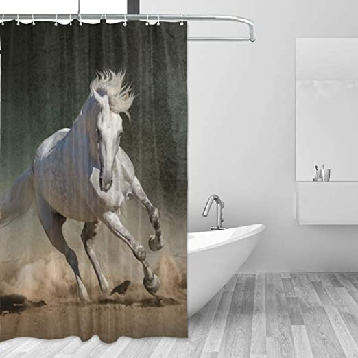 Amazon Com Fantazio Shower Curtain White Horse Running Polyester Bath Curtain Thicken C Shape Hookers Bathroom Waterproof Durable Super Waterproof 60x72in Home Kitchen