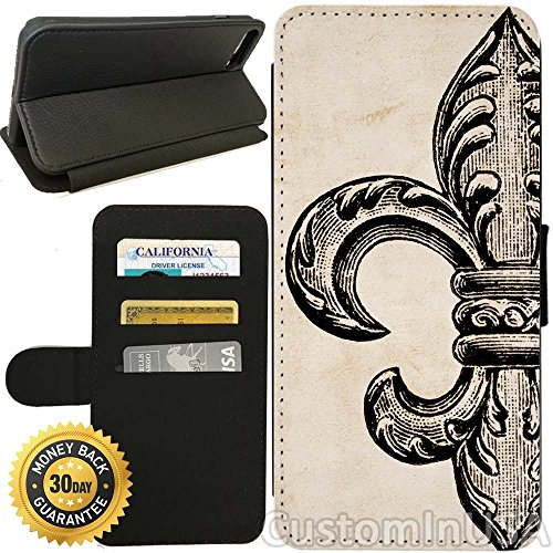 - Flip Wallet Case for iPhone 8 PLUS (Vintage Fleur De Lis) with Adjustable Stand and 3 Card Holders | Shock Protection | Lightweight | Includes Free Stylus Pen by Innosub
