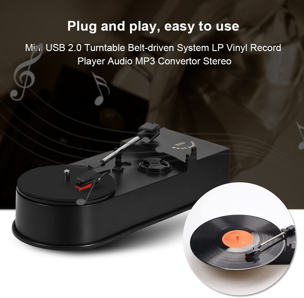 Pusokei Mini USB 2.0 Tocadiscos Sistema accionado por Correa LP Reproductor de Discos de Vinilo Convertidor de Audio MP3 Est/éreo con Dos Modos de Salida de Audio y dise/ño de Cartucho de cer/ámica