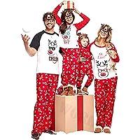 douleway Pijamas de Navidad Familia, Ropa de Noche Homewear Algodón Camisas de Manga Corta + Pantalones Largos Sudadera…