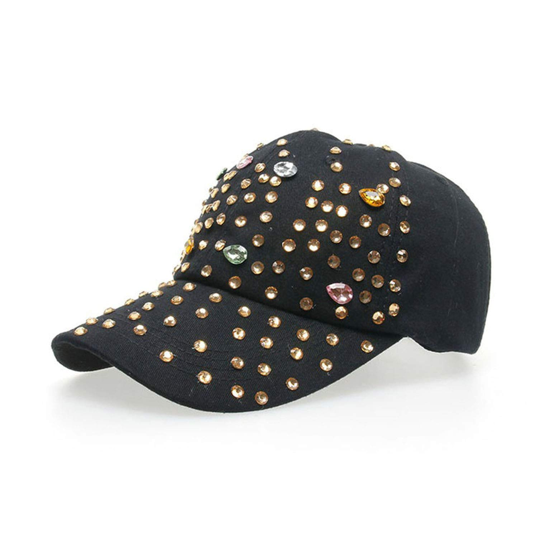 Eric Carl Baseball Caps for Women with Rhinestone Bling Beauty Girl Snapback Cap for Female Denim Crystal Hats