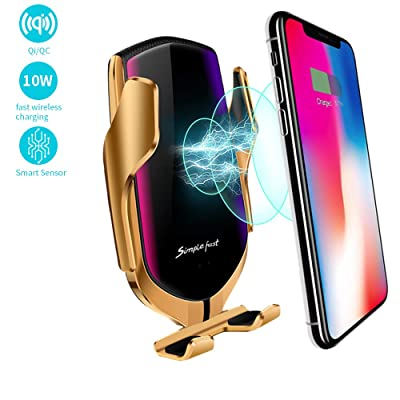Survival-Pax Co. Smart Sensor Wireless Car Charger Mount, Automatic Clamping QC/QI 10W Fast Charging Car Charger Holder Compatible with iPhone 11/Xs/Xs Max/XR/X,Samsung Note 9/S9/ S9+/S8 etc (Gold): Electronics