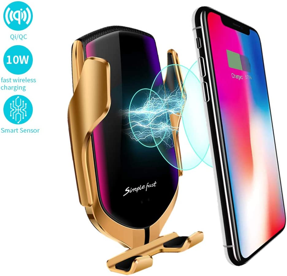 EERIE Smart Sensor Wireless Car Charger Mount, Automatic Clamping QC/QI 10W Fast Charging Car Charger Holder Compatible with iPhone 11/Xs/Xs Max/XR/X ...