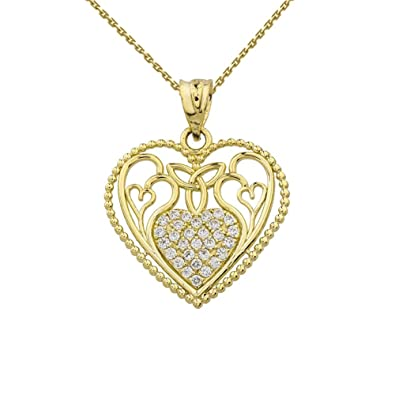 Amazon fine 10k yellow gold diamond filigree heart with trinity amazon fine 10k yellow gold diamond filigree heart with trinity knot pendant necklace with 16 chain jewelry aloadofball Gallery