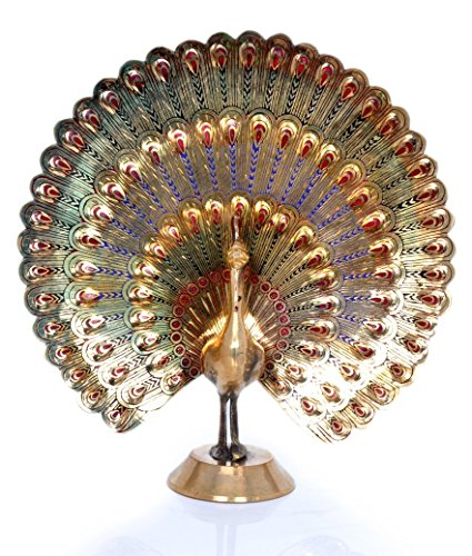 Brass Peacock (Hashcart Peacock Statue in Decorative Colorful Brass, Good Luck, Finish - Discount- for Home Decor/Gift/Office By)