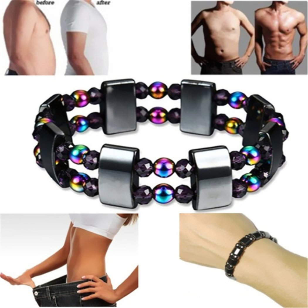 BoBoLing Magnetic Colorful Bracelet Hematite Bangles Healing Beads Stretch Bracelets for Lose Weight