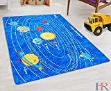 Solar System Kids Educational play mat For School/Classroom / Kids Room/Daycare/ Nursery Non-Slip Gel Back Rug Carpet-(3 by 5 feet)