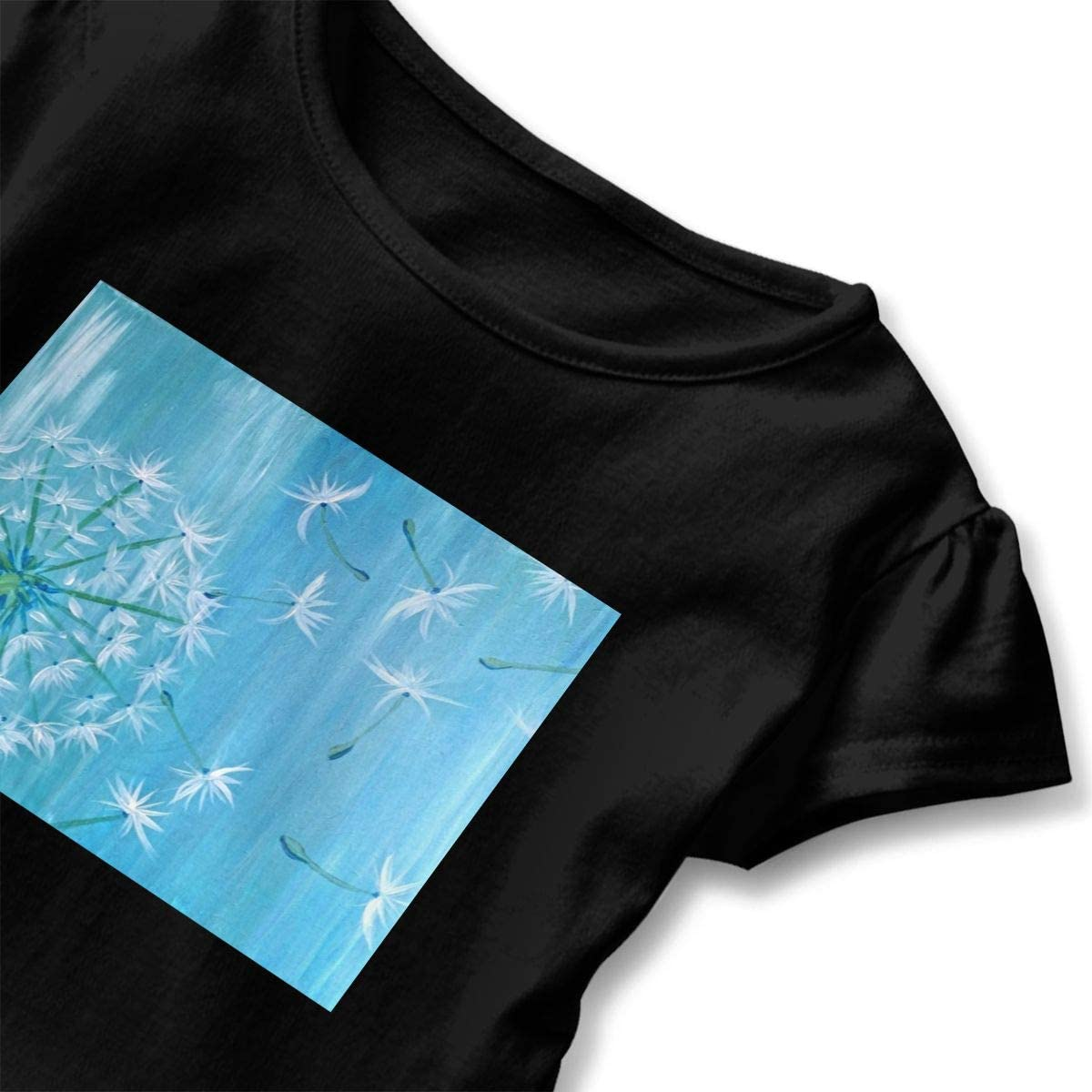 Dandelion Blue Shirt Baby Girls Flounced Casual Tee Shirts for 2-6 Years Old Baby