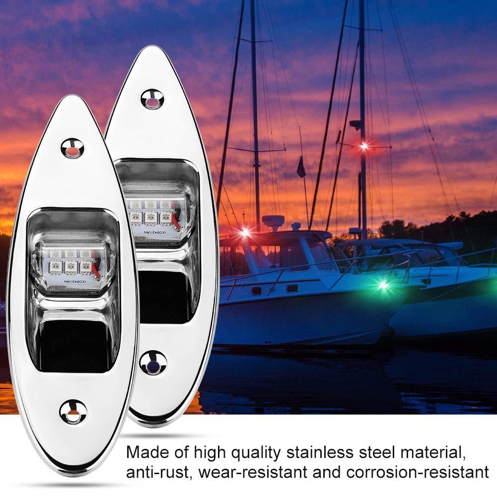 Fydun 12V LED Encastr/é Feu de Signalisation de Navigation C/ôt/é arc 2Pcs 120 /° Lampe pour Marine Boat Yacht Vert 61.5lm et Rouge 19lm