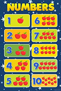 Numbers Counting Chart Sign Educational Rules Cool Wall Teacher Supplies for Classroom School Decor Teaching Toddler Kids Elementary Learning Homeschool Cool Wall Decor Art Print Poster 12x18