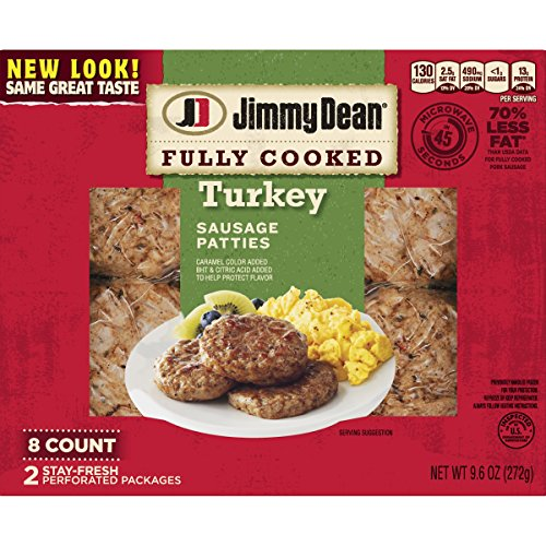 - Jimmy Dean, Fully Cooked Turkey Sausage Patty, 8 Count