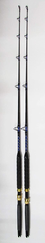 Xcaliber 海洋用ボートロッド 2個セット インショアシリーズ 6フィート 30~50ポンド ブルーとシルバー   B07LB583H6